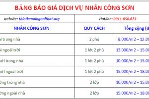bảng báo giá dịch vụ nhân công sơn - 0911.050.673